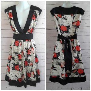 A-Line Fit & Flare Floral Dress Black Trim